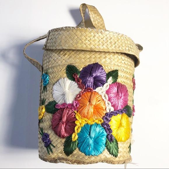 Vintage Straw Raffia Flower Tote Bag Storage